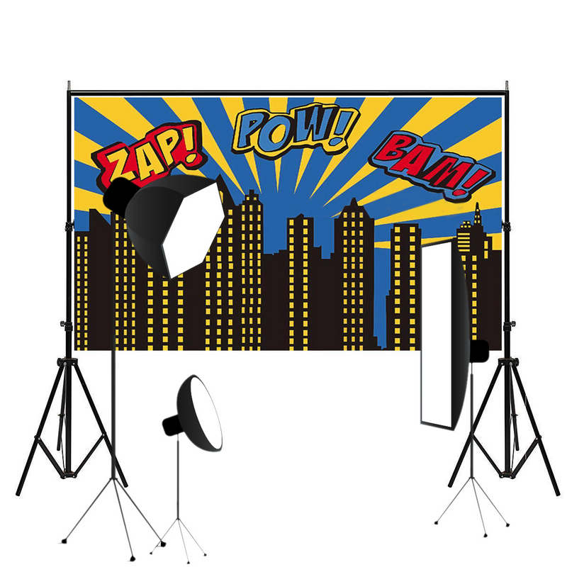 Mayitr 5x3ft Super City Photography Backdrop Theme Building Studio Super Hero Photo Background Prop For Photography Party