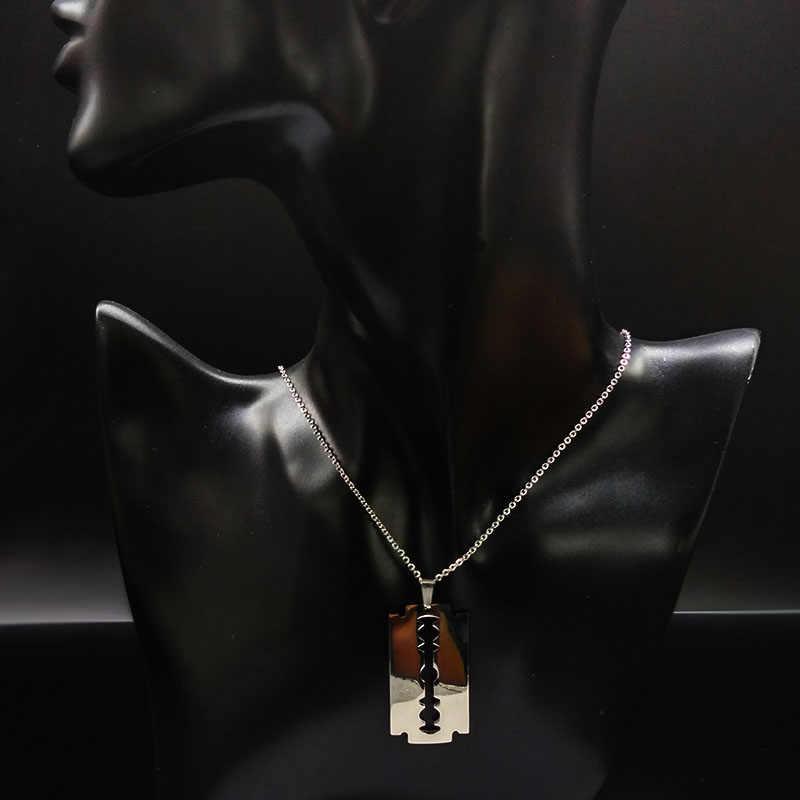 Freddo In Acciaio Inox Lame di Rasoio Collane con pendente uomini Gioielli In Acciaio Maschio Rasoio Forma Collane E Pendenti con gemme e perle Catena libera N423S01