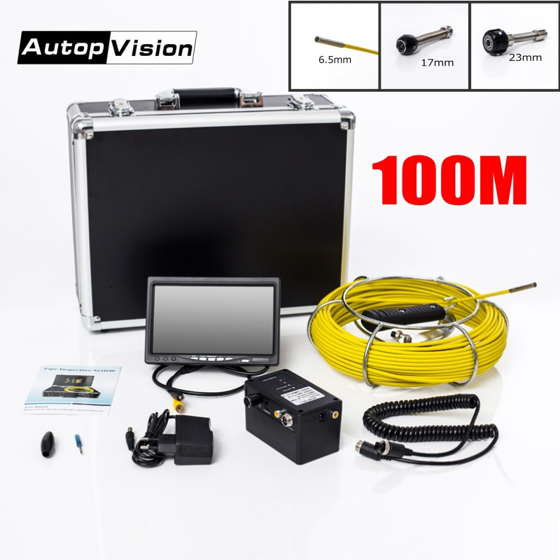 DHL Free AP70 100M Cable Underwater mini camera 7 TFT LCD 6 5 17 23mm Sewer
