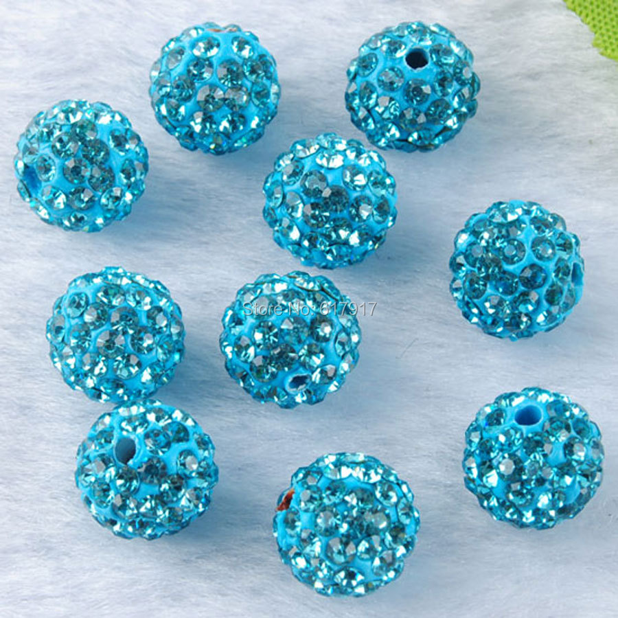 Beads Jewelry & Accessories Glorious Free Shipping 10mm Aqua-marine Blue Crystal Rhinestone Pave Clay Round Disco Ball Spacer Loose Beads Jewelry Finding 20pcs A3112
