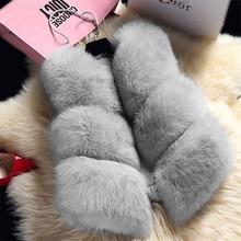 imitation fur sleeveless coat women's fox fur waistcoat woman natural gilet high quality faux fur vest