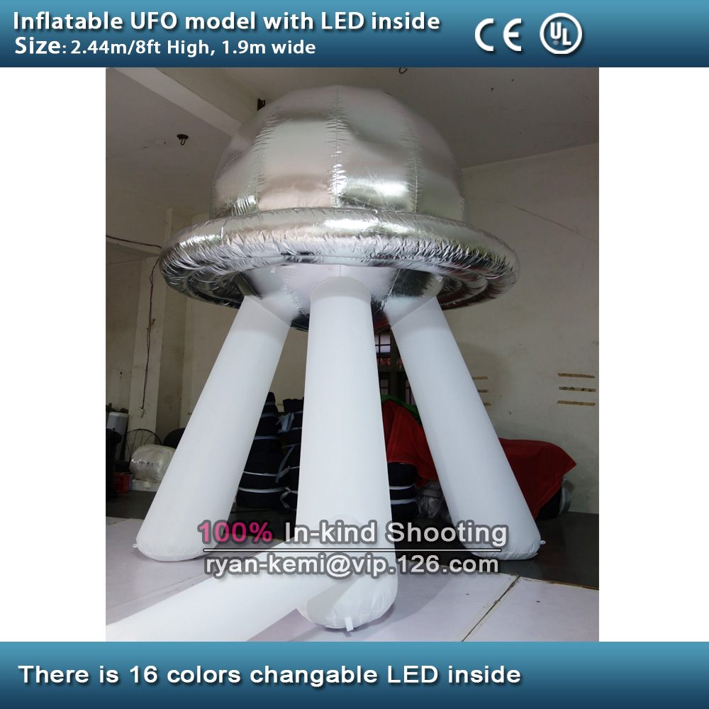 Free shipping 8ft inflatable UFO with LED 2.4m inflatable flying saucer balloon inflatable Alien Spaceship 5 5m 18ft long inflatable killer whale balloon sea animal model for hanging display with the free shipping