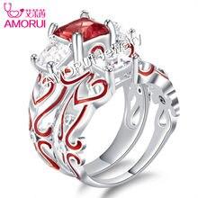 d738d72e5ae8 AMORUI nuevo Chapado en plata cristal cuadrado de compromiso Wedings anillos  para las mujeres esmalte