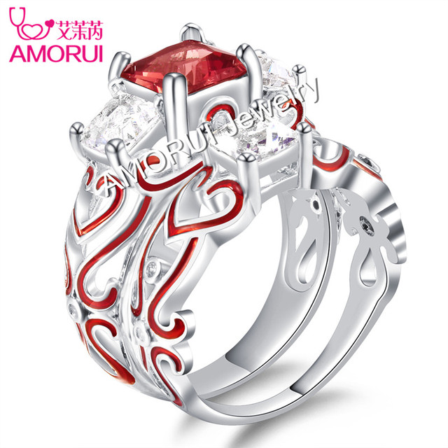 AMORUI New Silver Plated Square Crystal Engagement/Wedings Rings for Women Ename