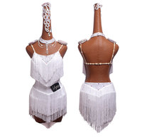 Latin dance competition dress, performance dress, SALSA dress, white high open and moving fringed skirt