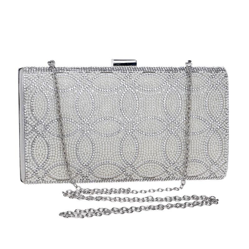 71604d4fef Female Clutch Box Crossbody Bag Luxury Handbags Diamond Evening Bag Pearl  Banquet Party Wedding Purses Gold Silver