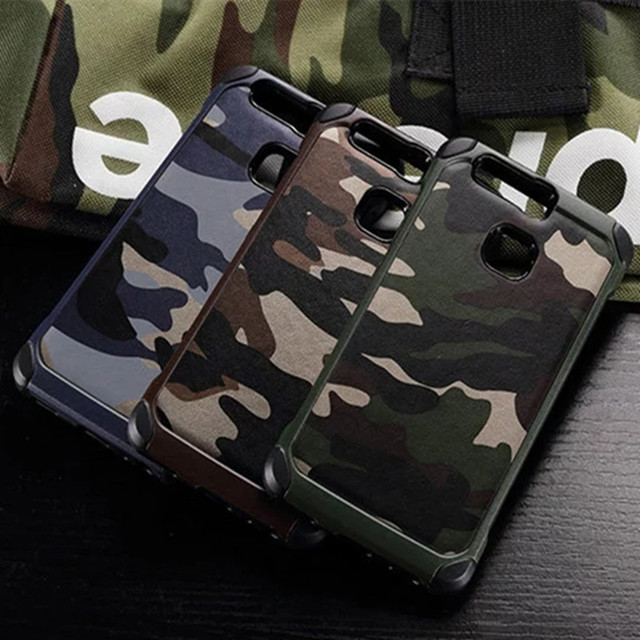 Army Camo Camouflage Back Cover For Huawei P9 P8 P10 Lite 2017 Hard Plastic Soft TPU Armor Case For Huawei P20 Pro P9 P10 Plus