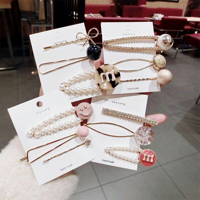 3PCS/Set Ins New Women Luxury Pearls Crystal Geometric Hairpins Sweet Hair Clips Barrettes Headband Fashion Hair Accessories