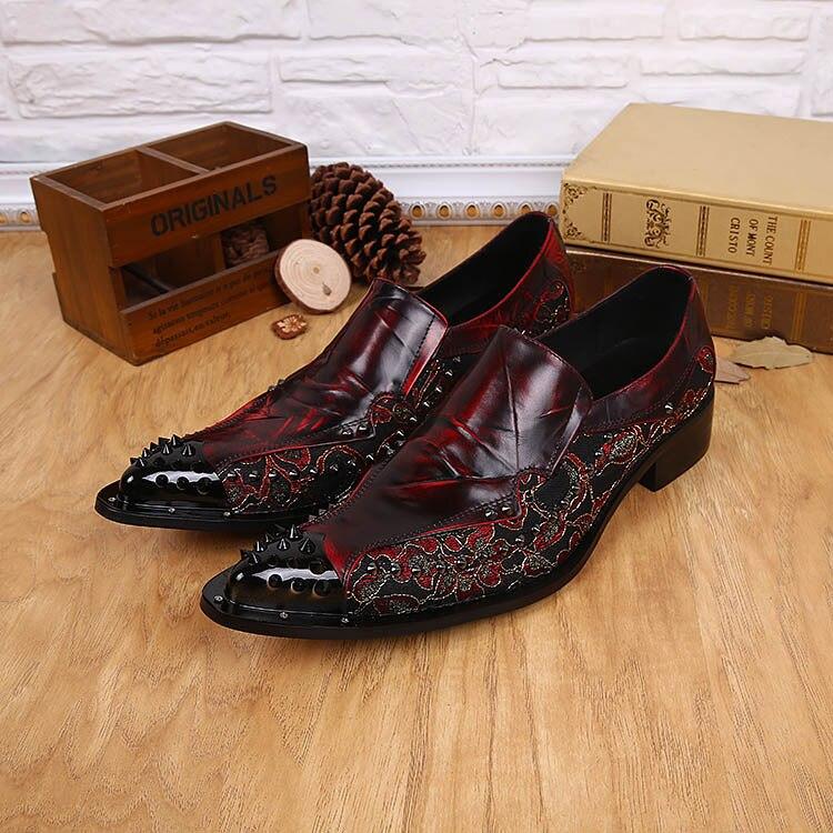 Japonês Preto Sapatos Vinho Da Star De Ntparker Super Homem Tinto Wine Dedo Couro Rock Mala Oxford Preto Apontado sapatos red Metel Estilo E4wOqxBq