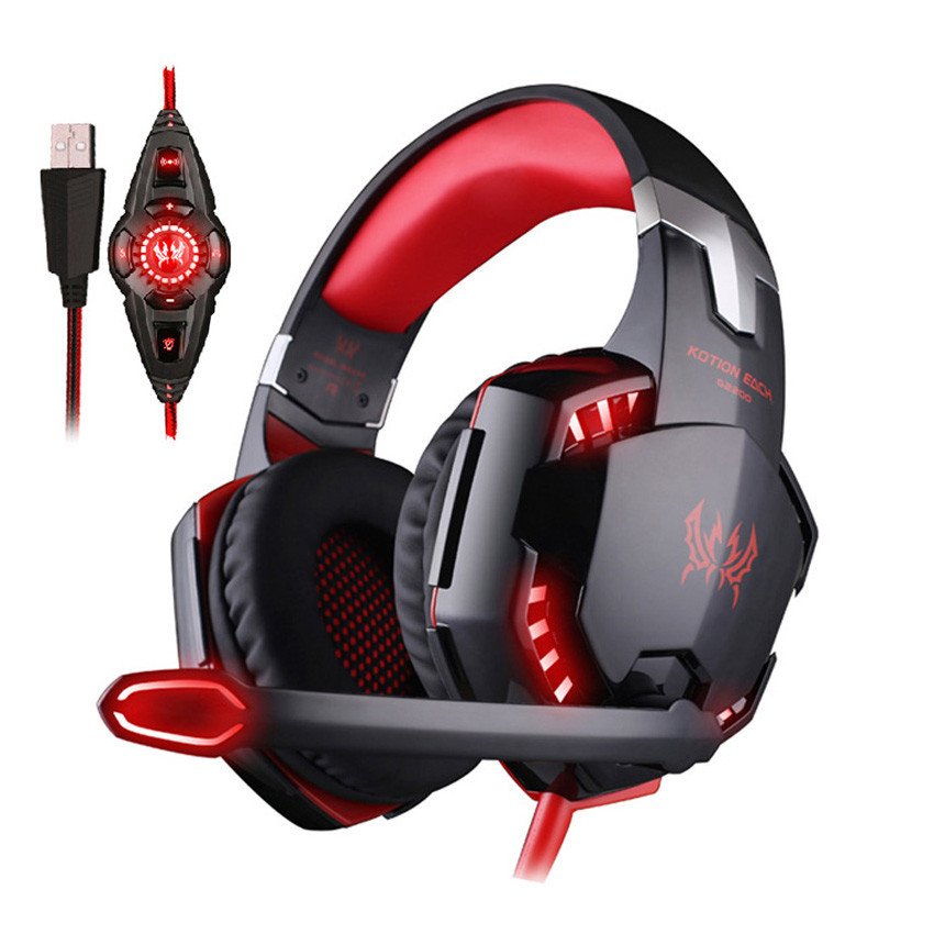 KOTION EACH G2200 Stereo Gaming Headphones USB 7.1 Surround Sound Vibration PC Gamer Headset casque with Mic Led Light for Game
