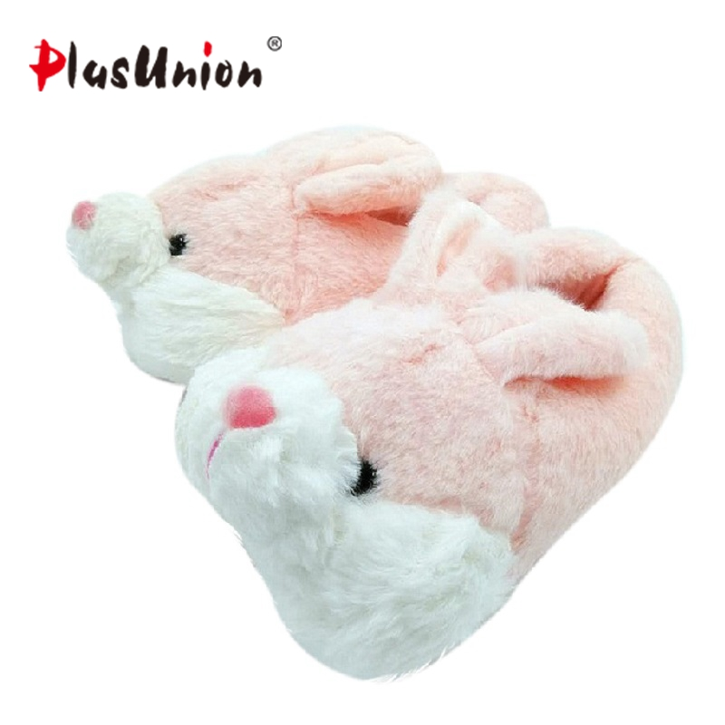anime winter plush flat indoor home rabbit slippers sewing furry animal warm slipper fluffy with fur indoor shoes fuzzy house