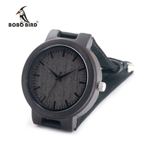 BOBO BIRD C27 Black Scale Wood Watches Fashion Antique Watches with Leather Band Casual Quartz Watch for Men in Paper Gift Box