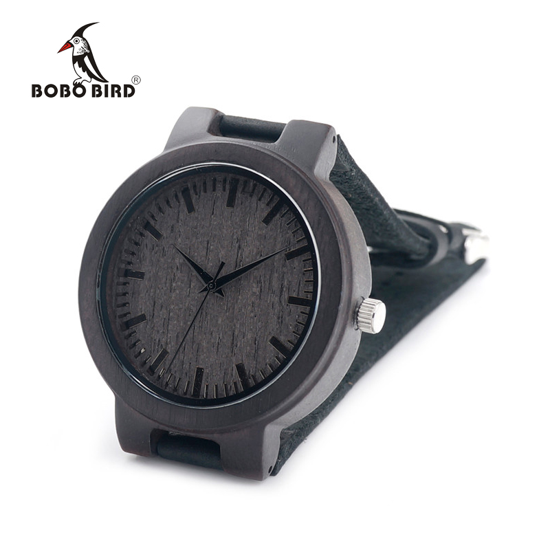 BOBO BIRD CbC27 Black Scale Wood Watches Antique Watches with Leather Band Casual Quartz Watch for