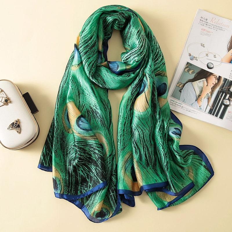New Fashion Silk   Scarf   Luxury Brand Lovely Animal Bird Peacock Shawl Long Print Soft Bandana Sjaal Foulard   Wrap   Hijab