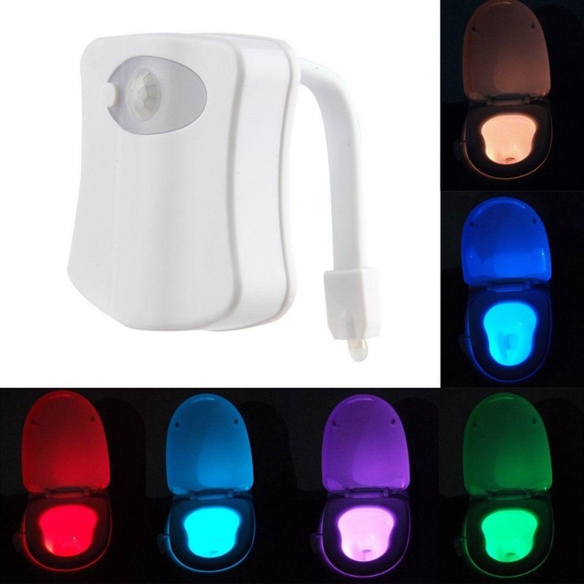 Human Motion Sensor Automatic Toilet Seat LED Light Bowl Bathroom Night Light 8 Color Lamp Veilleuse