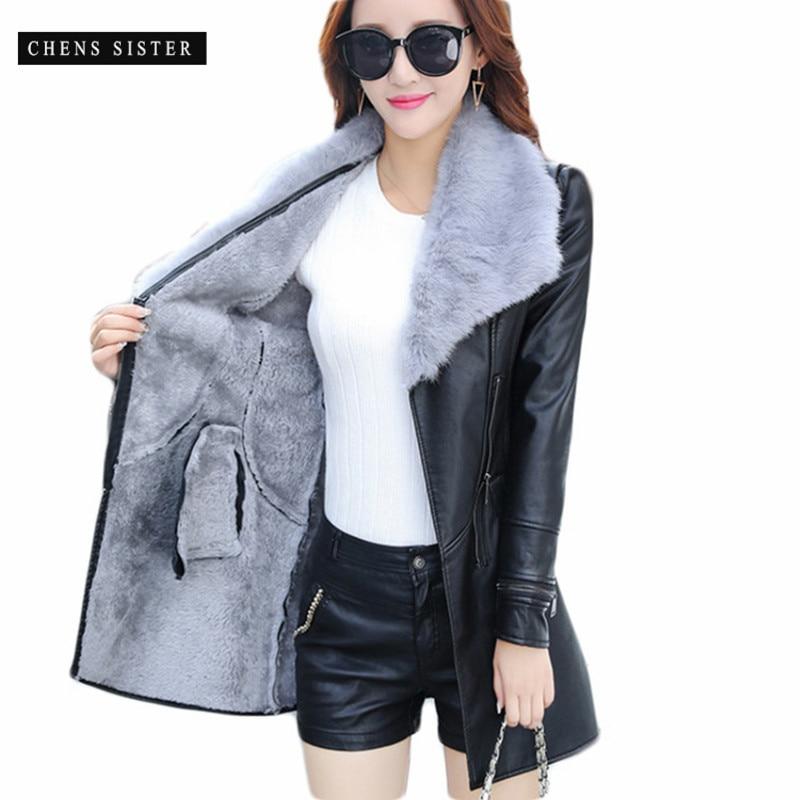 [CHENS SCHWESTER] Winter 2018 Neue Mode Leder PU Jacke Große Pelz Kragen mit Gürtel Lange Plus Größe PU jacke Outwear Mantel