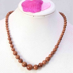 Natural gold-color sand stone 6-14mm round beads diy necklace 18