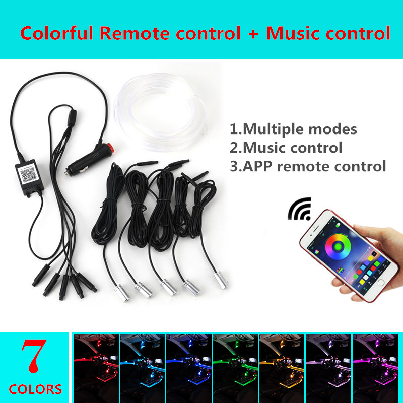 RGB LED Car Interior Neon Strip Phone APP Bluetooth Control USB Atmosphere Light