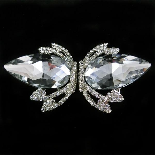 200pcs Lot Wholesale Crown Clear Crystal Rhinestone Pair Buckle