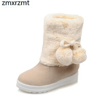 2019 women sweet ankle snow boots 4cm med heel women shoes to keep warmin winter party shoes it`s beige pink yellow and purple