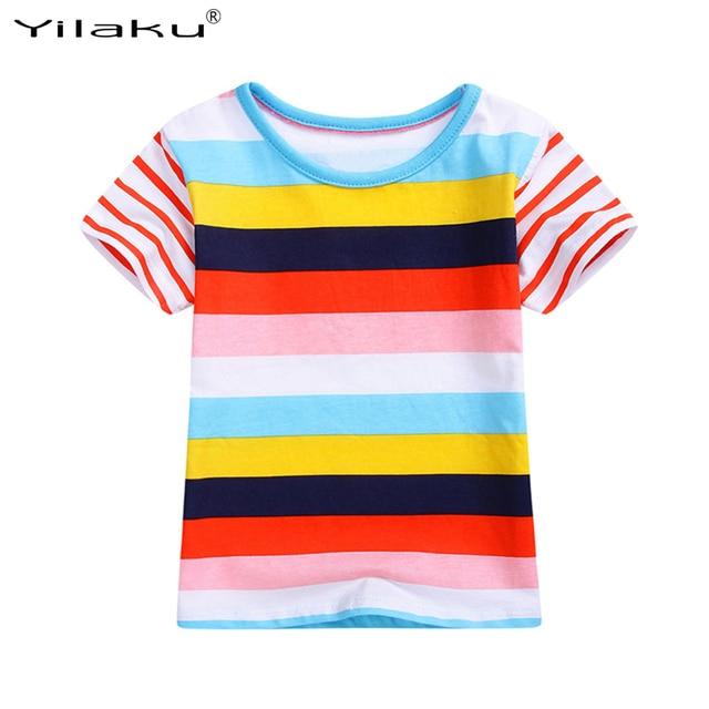 09e860fba Yilaku Boys Girls Tops Children's T Shirt Fashion Multicolor Striped Cotton  T-Shirts For Kids Casual Summer Baby T-Shirts CG303