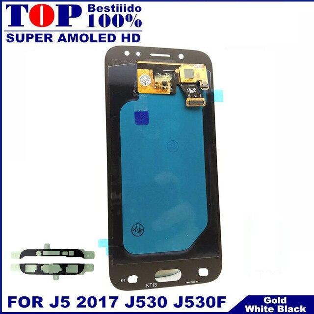 لسامسونج غالاكسي AMOLED LCD J5 2017 J530 SM-J530F J530M شاشة الكريستال السائل مجموعة المحولات الرقمية لشاشة تعمل بلمس مع سطوع تعديل