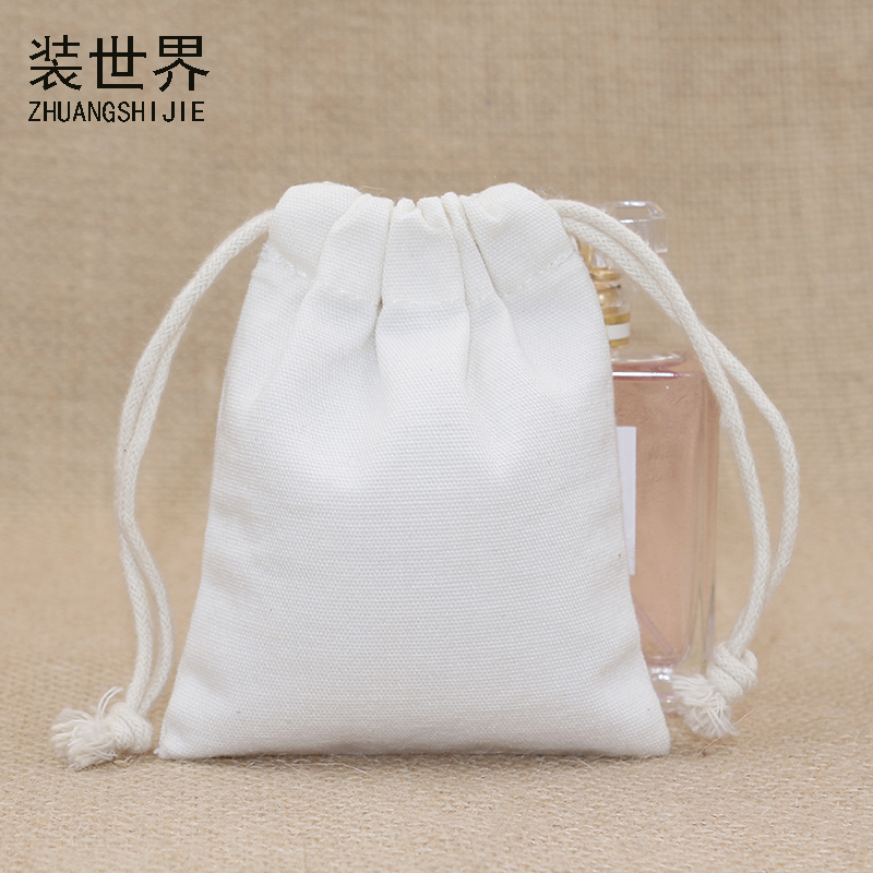 5pcs/lot 9cm*11.5cm 10oz Canvas Polyester Bag Pouch Logo Print Drawstring Bags Christmas Gift Packing Jewelry Bags