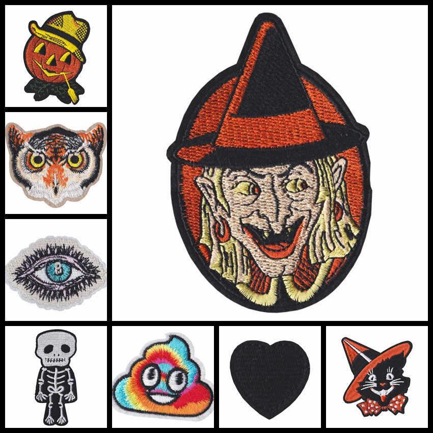 1 шт. нежный мультфильм Хэллоуин ведьма Сова панк stlye череп черное сердце нашивки знаки на футболку пальто одежда аксессуары нашивки