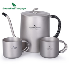Boundless Voyage Outdoor Titanium Kettle Cup set with Anti-scalding Handle for Wine Coffee Tea Mess Kit Fire Induction Cooker цена и фото