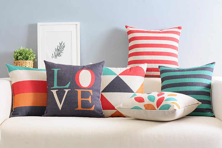 modern Colorful LOVE pillow ,Abstract geometric cushion ,Linen  pillowcase,sofa cushions home decorative Pillows