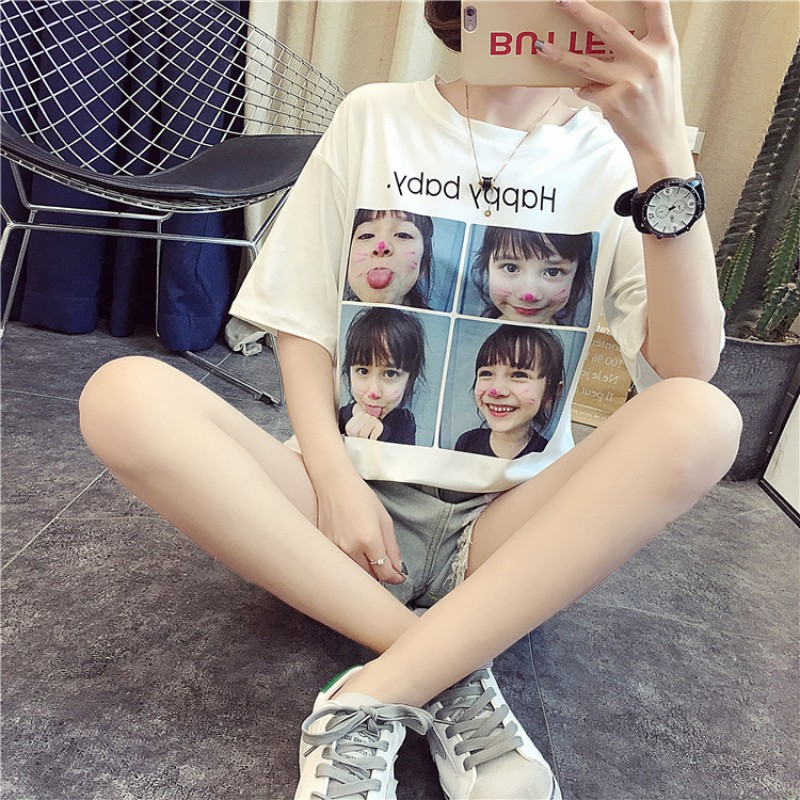 Harajuku Tees 2018 Summer Fashion Female T-Shirt Loose O-Neck Cute Casual T Shirt Girls Street Costume For Wome