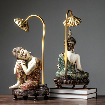 Resin Buddha Wearing Lotus Art Statue Sculpture Home Decoration Accessories Modern Living Room Bedroom Ornaments Gifts Statues