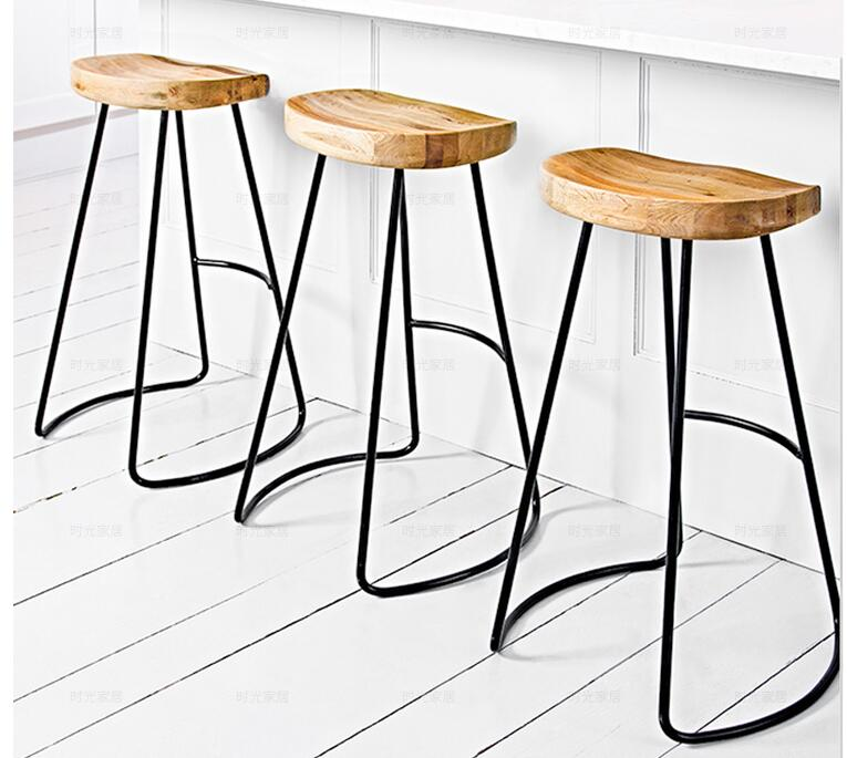 The Wooden Bar Chair Of The Home Is Real Wood. Tall Stool. Chair Stool