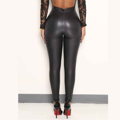 0facc40429237d Women Stretchy Faux Leather Trousers Skinny High Waist Leggings Pencil Pants  Hot