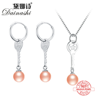 Dainashi 925 Sterling Silver Set Pearl Sets with Key Pearl Drop Earrings and Key Pearl Pendants Real Pearl Jewelry for Women