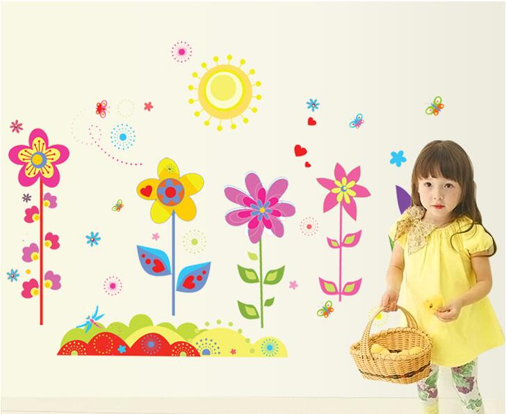 Border Colorful Sun Flower Wall Stickers Butterfly DIY Cartoon Kids Girl Bedroom Vinyl Decoration Adesivo De Parede Home Decor In From