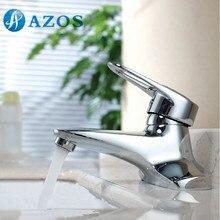 AZOS Bathroom Basin Tap 2 Holes Brass Chrome Polish Bathroom Accessories Hot Cold Water Mixer Toilet Sink Faucet MPEK005