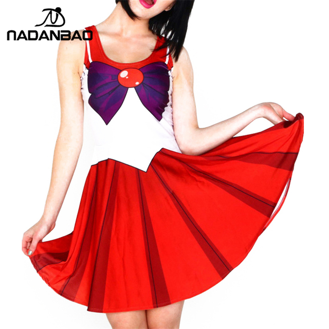 d02ce899d225 NADANBAO Autumn Women Dress sailor moon Lovely Summer Dresses Red&White Pleated  Dress Short Sleeveless Vestido Women Clothing