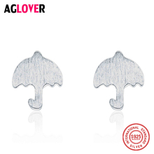 AGLOVER 100% 925 Sterling Silver Women Jewelry Fashion Cute Tiny 8mmX7mm Solid Umbrella Stud Earrings for Daughter Girls