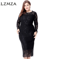 LZMZA Vintage Large Size 6XL Lace Dresses 2018 Spring White Floral Lace Long Sleeved Elegant Party