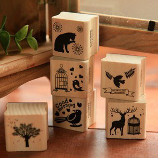 Lovely Animal Design Wooden Stamp Bird Cat Tree Deer Rubber For DIY Scrapbooking Album