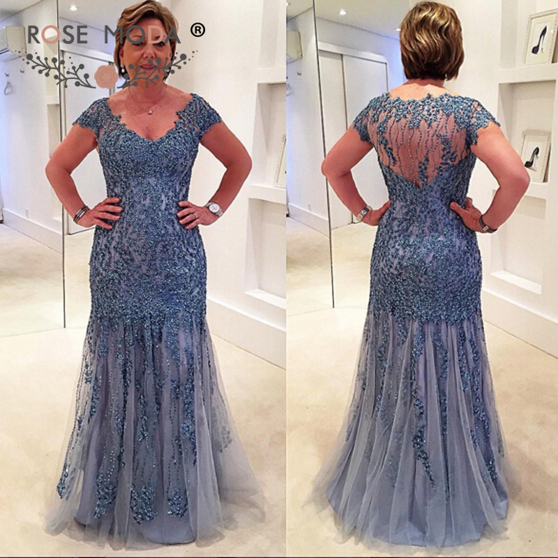 V Neck Short Cap Sleeves Pale Blue Lace Trumpet Mother of the Bride ...