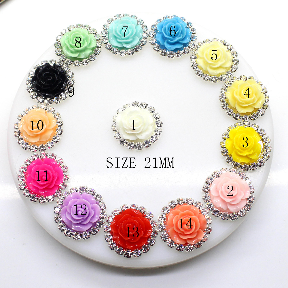 HOT 2016 10PCS/LOT Full of crystalfit Rhinestone Buttons Round Diamante Rhinestone Resin Flouer Shape Wedding Decoration