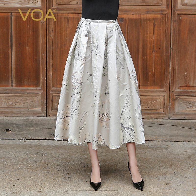 VOA Plus Size Pleated Silk Skirt Women High Waist Beige Printed Vintage Chinese Style Full Skirts Long Spring Faldas Jupe C6170