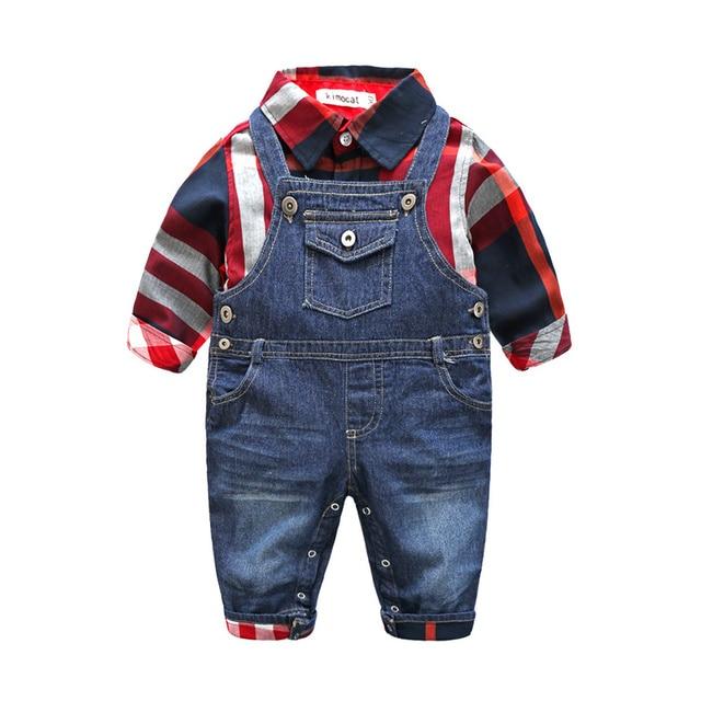 Милый Ребенок Мальчик Одежда Устанавливает Малышей Клетчатую Рубашку Топ Биб Pants Общая Костюм Мальчиков Одежда Bebe Комплект Одежды Одежда набор
