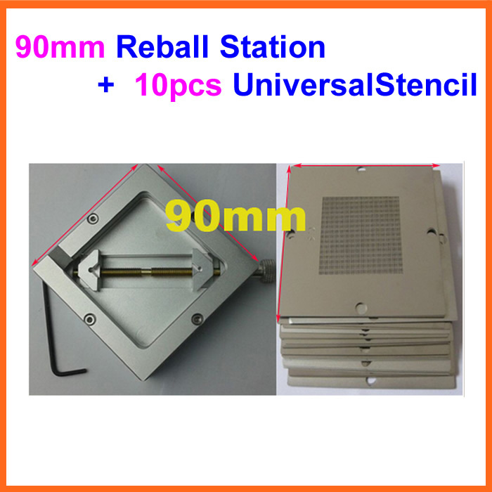 10pcs 90mm Universal Bga Reballing Stencil Reball Tample Kit + Diagonal Reball Station Ht-90 mobilephone mtk chip 27 pcs set bga reballing stencil tample kit with free reball station
