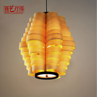 Chinese antique solid wood chandelier restaurant hotel engineering light Southeast Asia wood Lamp Art log Chandelier
