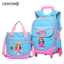 2Pcs/set Children Trolley School Bag Backpack Wheeled School Bag For Grils Kids Wheel Schoolbag Student Backpacks Luggage Bags все цены