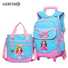 2Pcs/set Children Trolley School Bag Backpack Wheeled School Bag For Grils Kids Wheel Schoolbag Student Backpacks Luggage Bags недорого