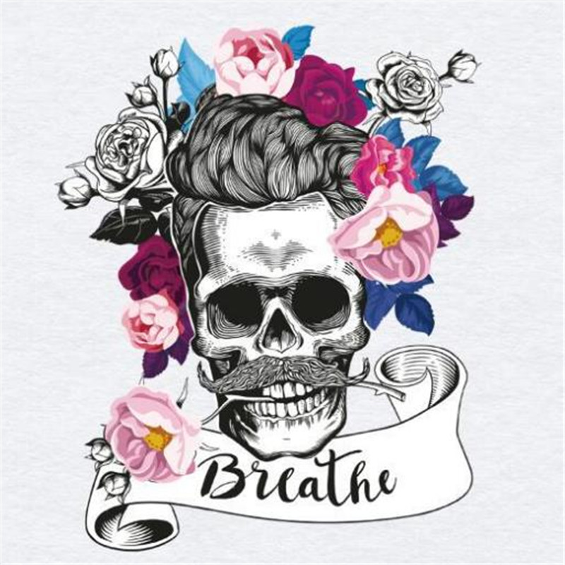 T shirt patch Diy skull flower 258mm pattern brand logo iron on patches for clothing transfer printing clothes top stickers